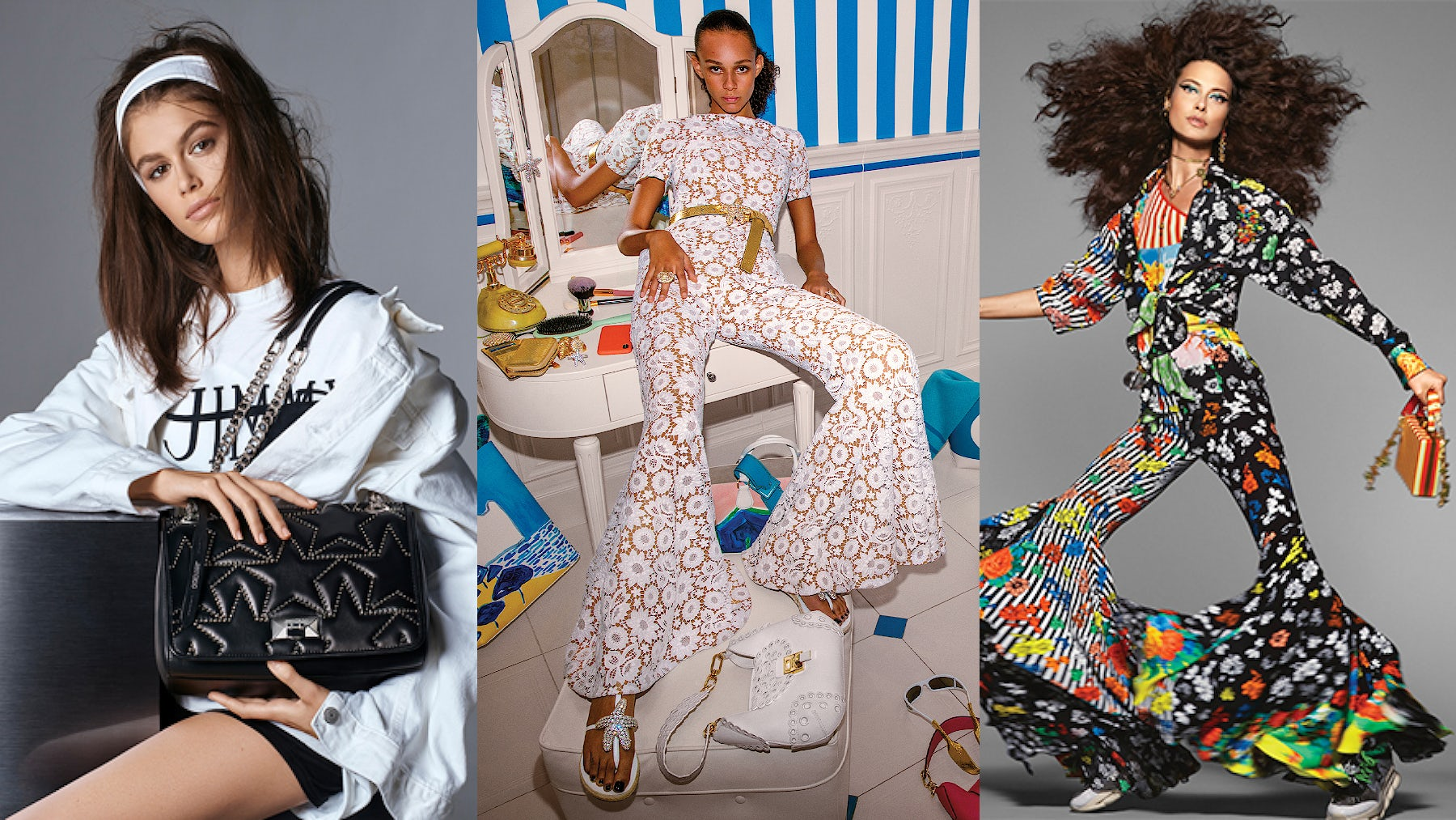 (L-R) Jimmy Choo, Michael Kors Collection and Versace Spring 2019  campaigns | Source: Courtesy