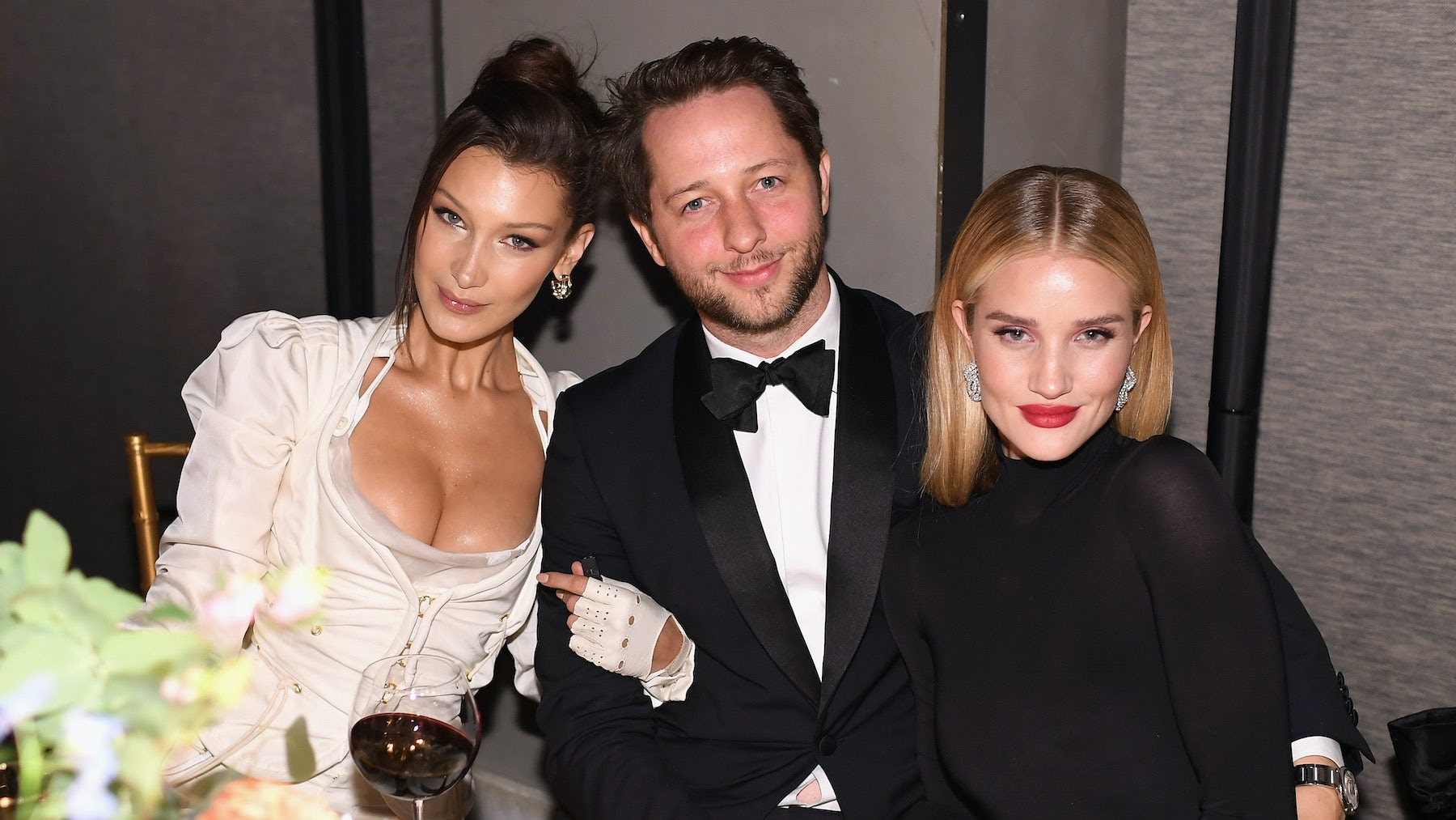 Bella Hadid, Derek Blasberg and Rosie Huntington-Whiteley at the #BoF500 gala dinner during NYFW Spring/Summer 2019 by Dimitrios Kambouris | Source: Getty
