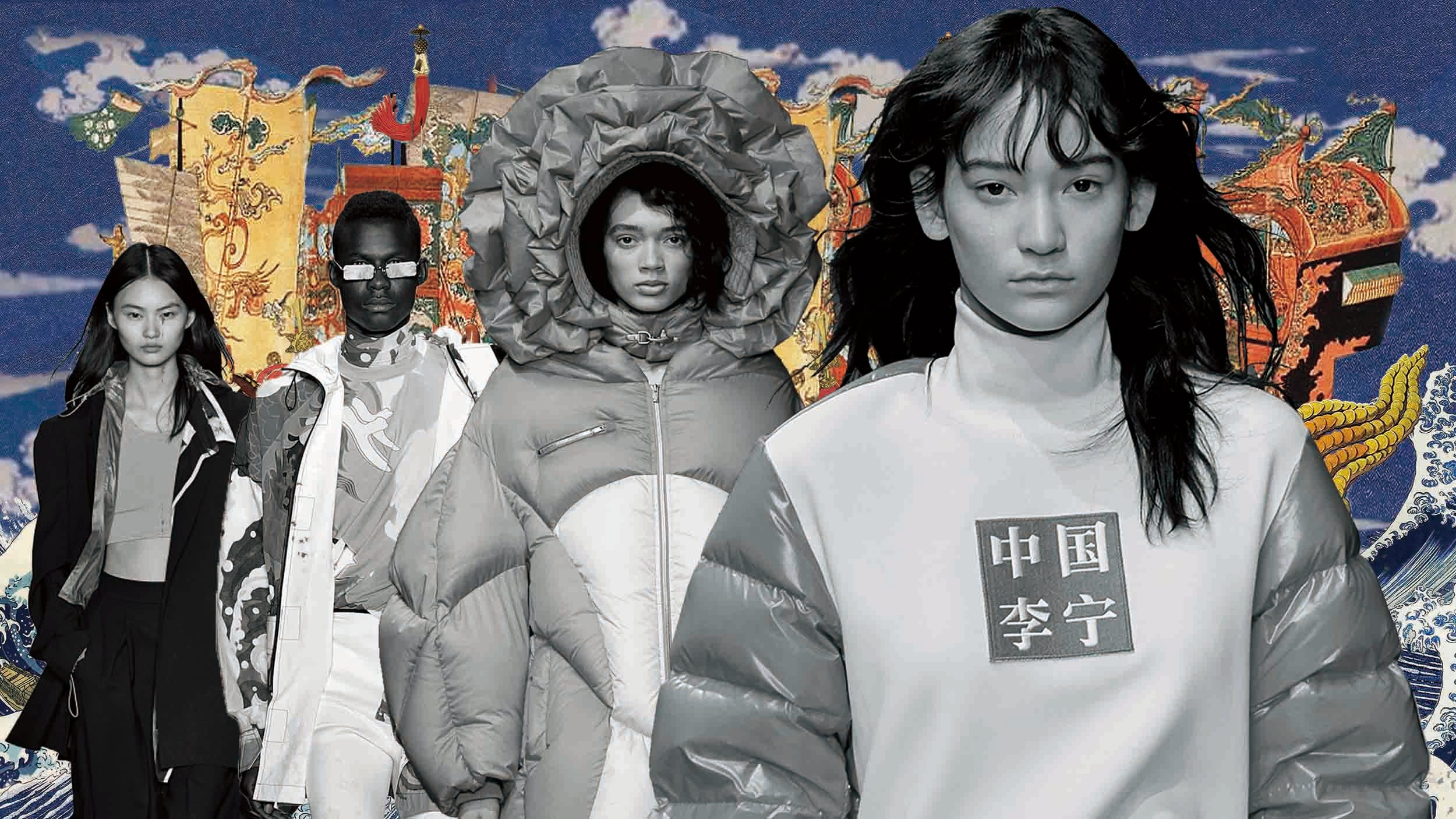 JNBY, Angel Chen, Chen Peng and Li Ning's collections from previous China Day runways | Illustration by BoF