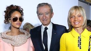 From left: Rihanna, LVMH owner Bernard Arnault and his wife Helene Arnault | Source: Getty