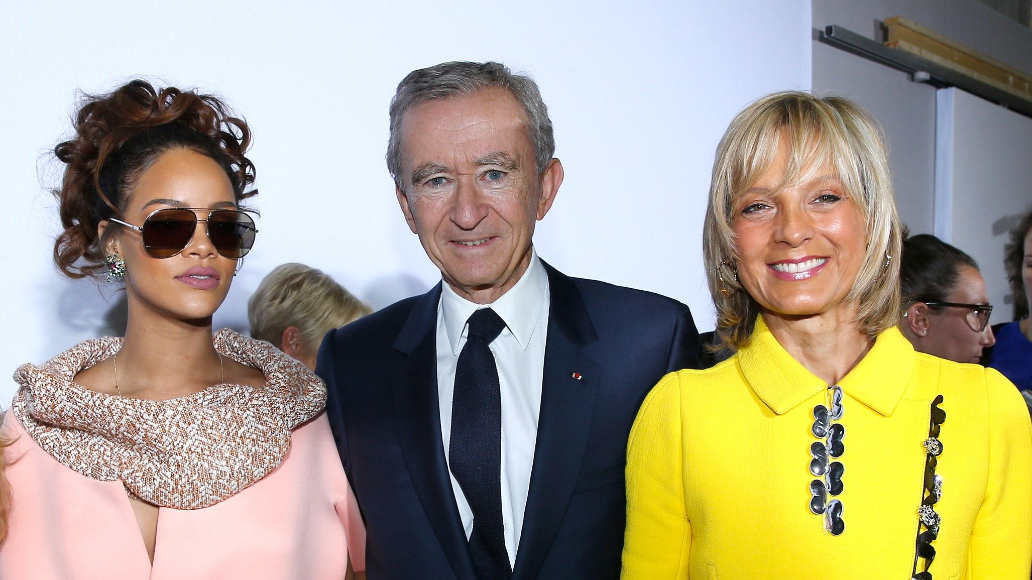 Rihanna, Bernard Arnault and Helene Arnault after Christian Dior show at Paris Fashion Week  Spring/Summer 2016 | Source: Getty