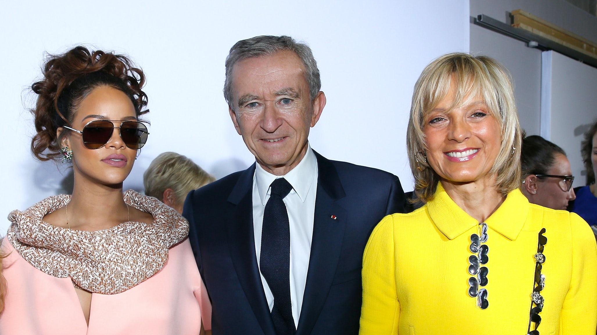 Rihanna, Bernard Arnault and Helene Arnault after Christian Dior show at Paris Fashion Week  Spring/Summer 2016   Source: Getty