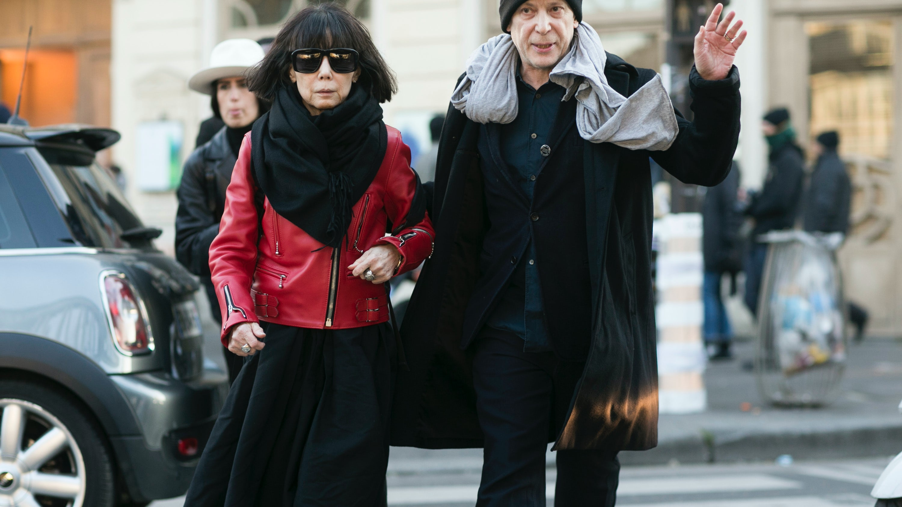 Rei Kawakubo and Adrian Joffe on January 21, 2016 in Paris | Source: Getty
