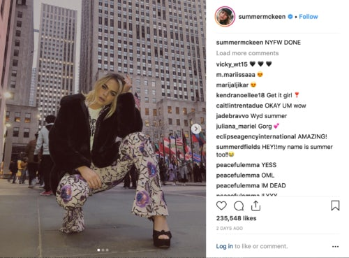 a1a1fd8a10b0 Influencer Summer McKeen at New York Fashion Week