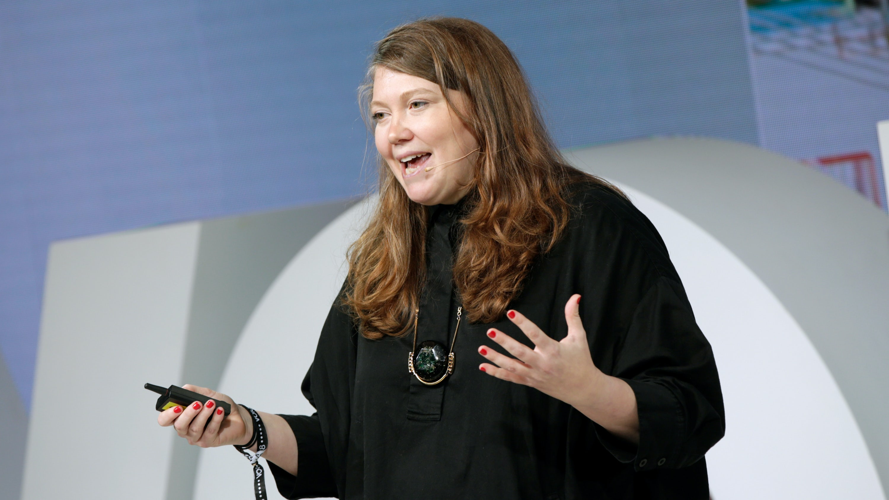 Lucie Greene speaking on-stage at BoF VOICES | Source: Getty Images for The Business of Fashion