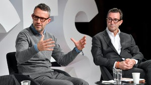 David Pemsel and John Ridding on stage during #BoFVOICES | Source: Getty Images for The Business of Fashion