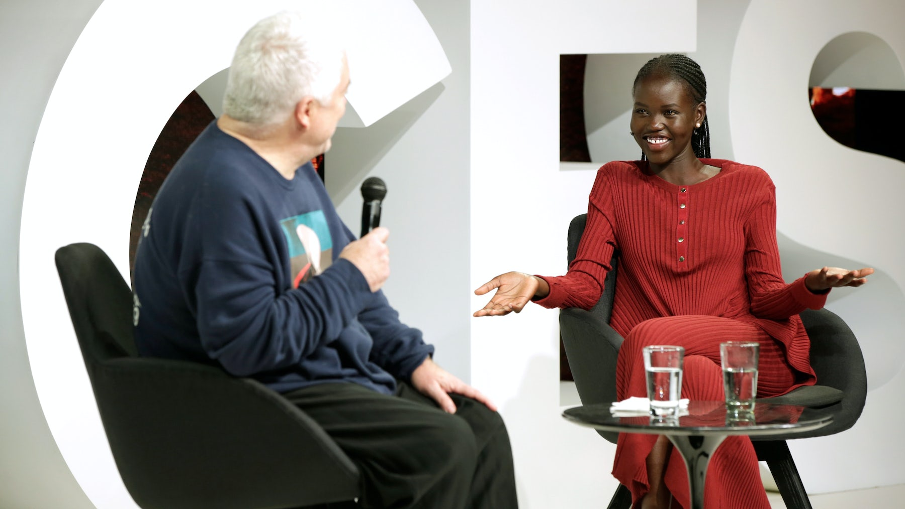 Tim Blanks and Adut Akech on stage at BoF's VOICES   Source: Getty Images for The Business of Fashion
