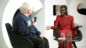 Tim Blanks and Adut Akech on stage at BoF's VOICES | Source: Getty Images for The Business of Fashion
