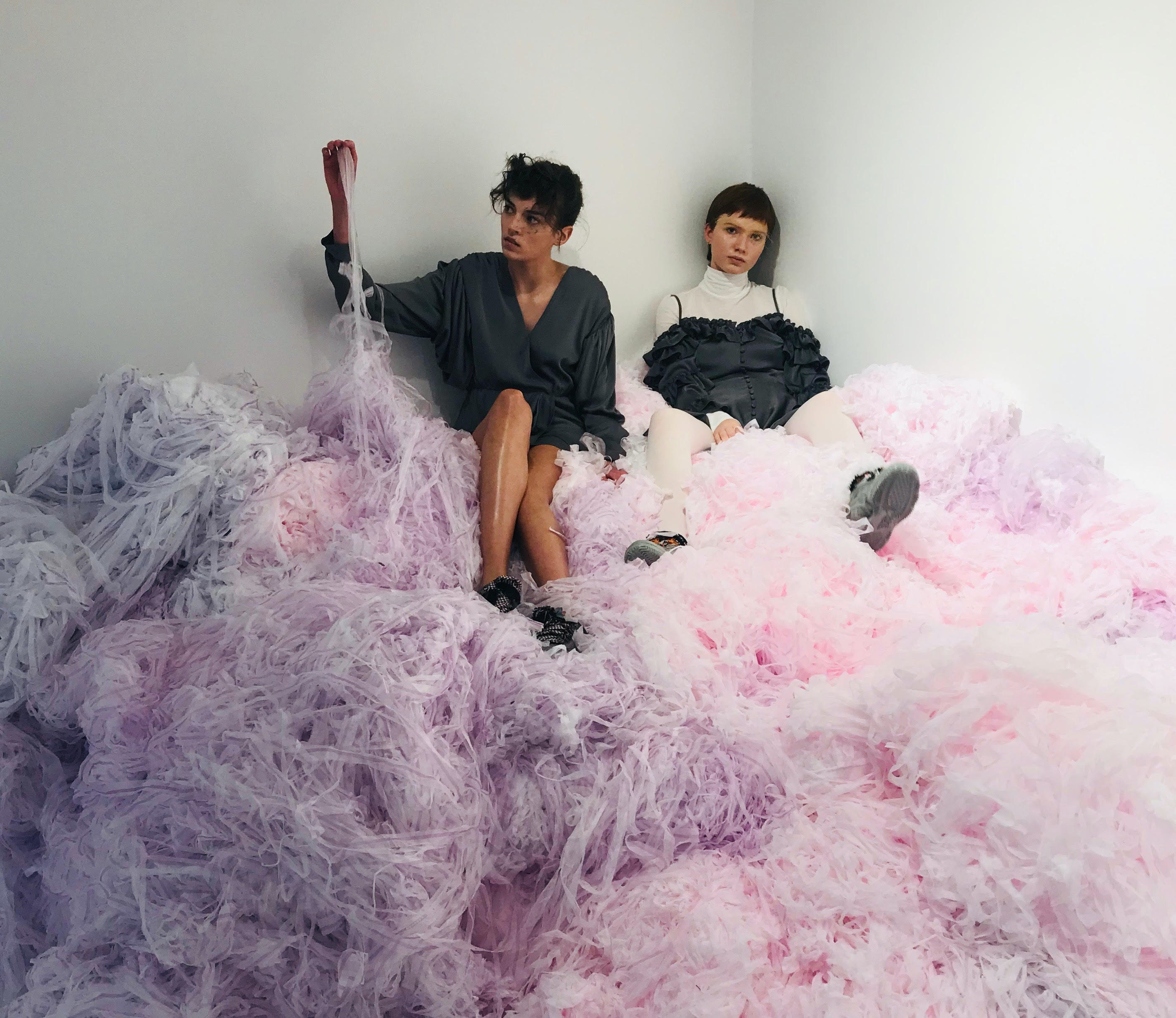 Models pose in clothes made from recycled polyester at Designers Remix in January | Source: Sarah Kent