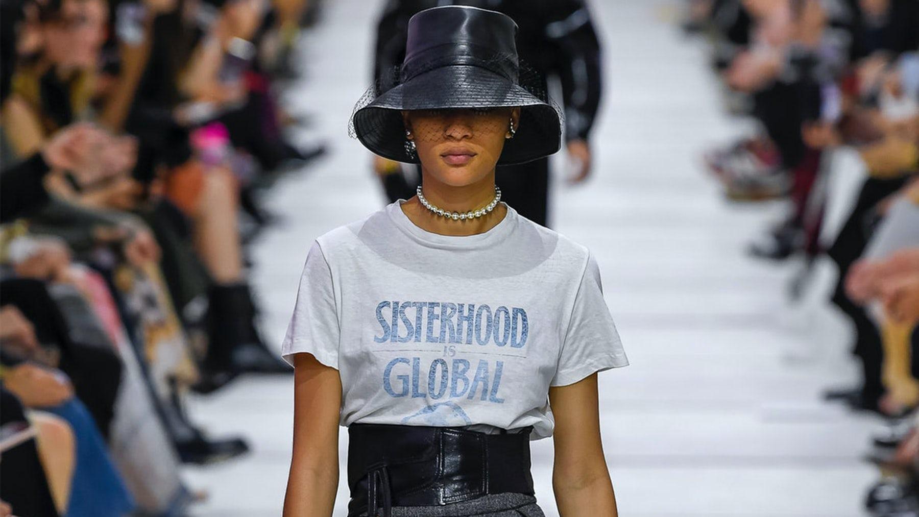 Maria Grazia Chiuri sent models down the runway wearing t-shirts bearing the titles of books by feminist author Robin Morgan | Source: Indigital