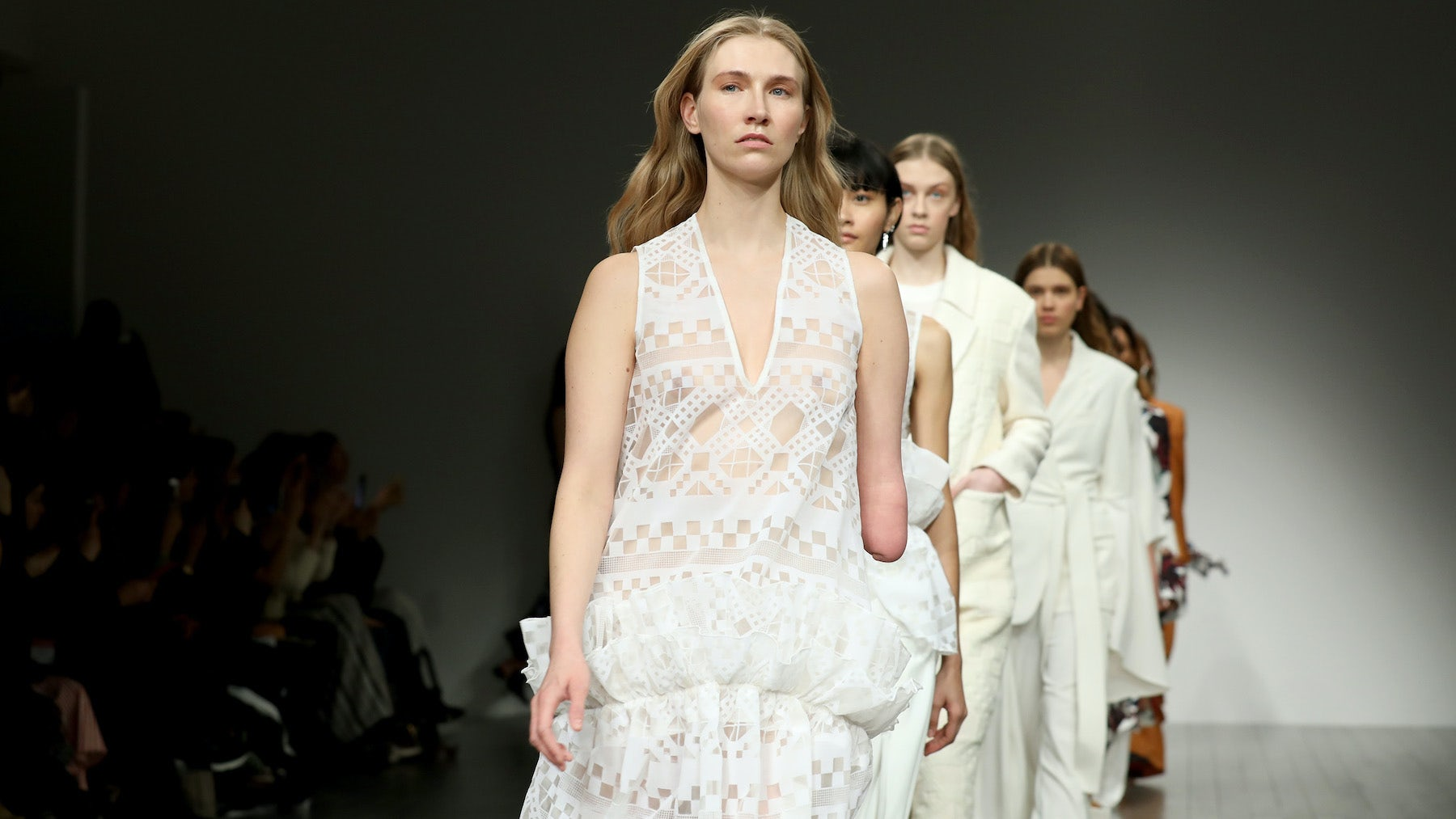 Kelly Knox was one of the models to walk the runway at the Teatum Jones' Spring 2018 show during London Fashion Week   Source: Getty