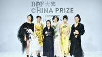 Caroline Hu, winner of the inaugural 2019 edition of the BoF China Prize, with her collection | Source: Getty Images for BoF