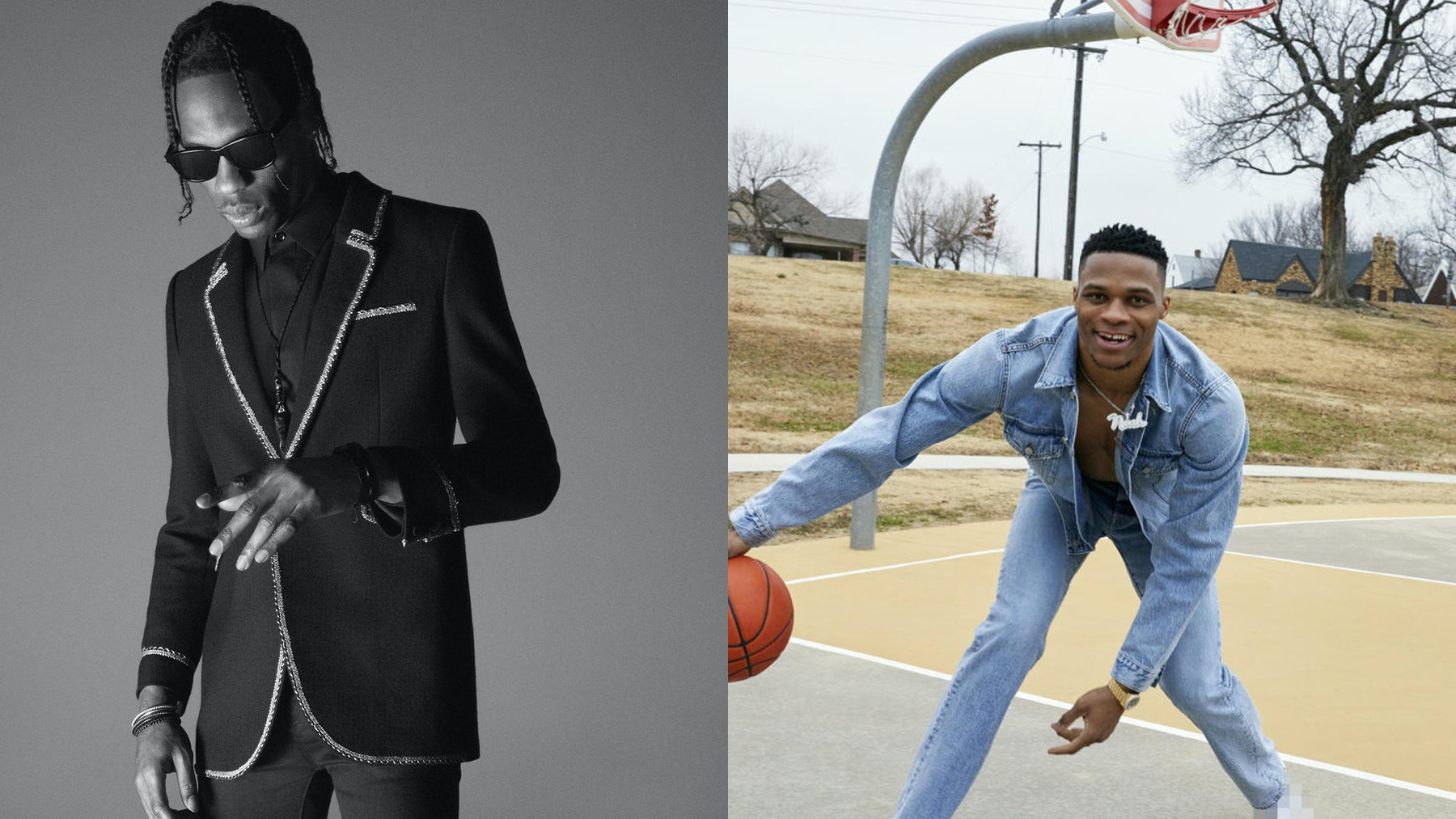 Travis Scott in the Saint Laurent Men's Spring/Summer 2019 campaign, and Russell Westbrook for Acne Studios Spring/Summer 2019 | Source: Courtesy