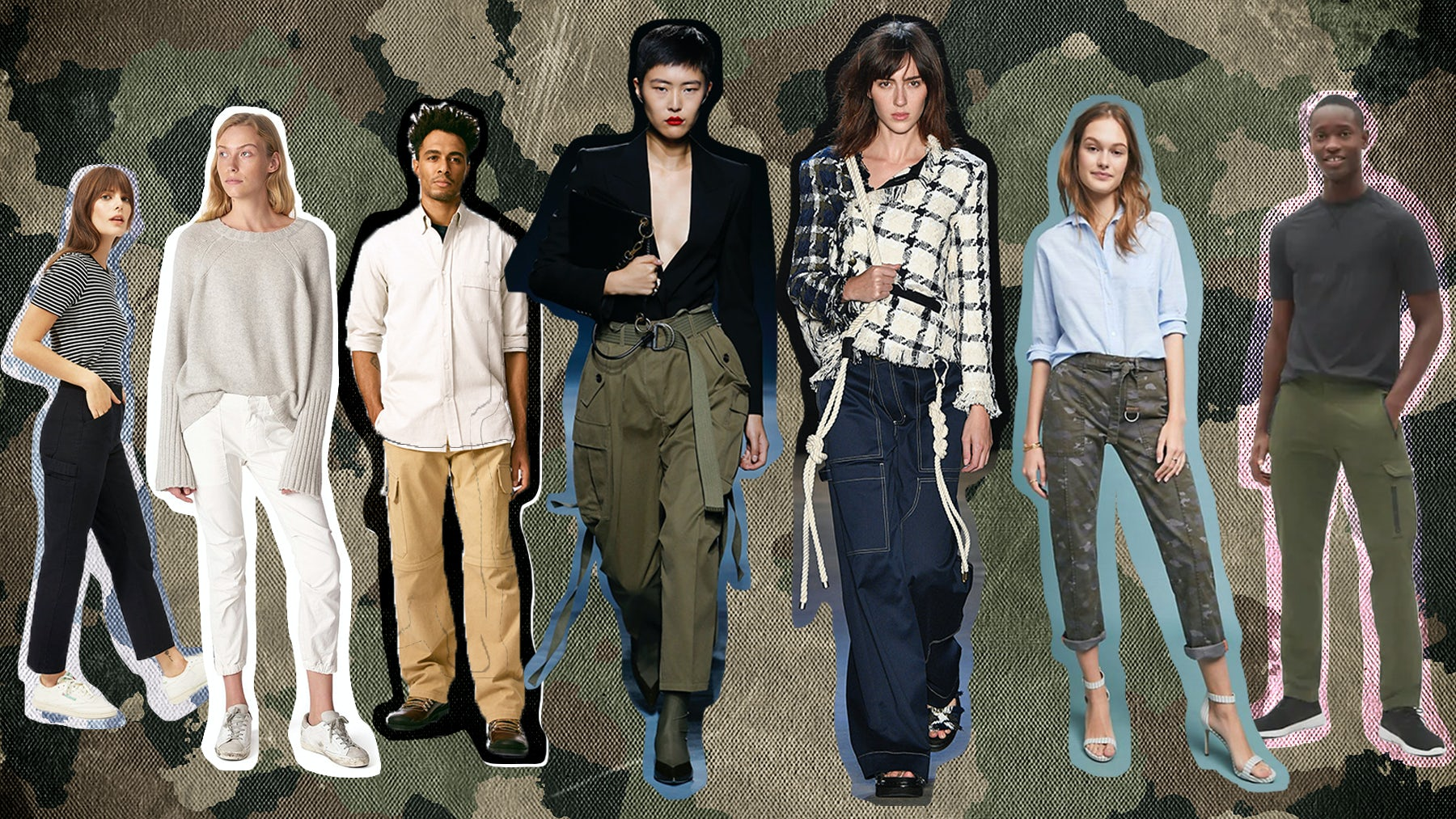 (Left to Right) Cargo pant designs from: Everlane, Nili Lotan, Loewe, Givenchy, Monse, Anthropologie and Gap | Illustration by BoF