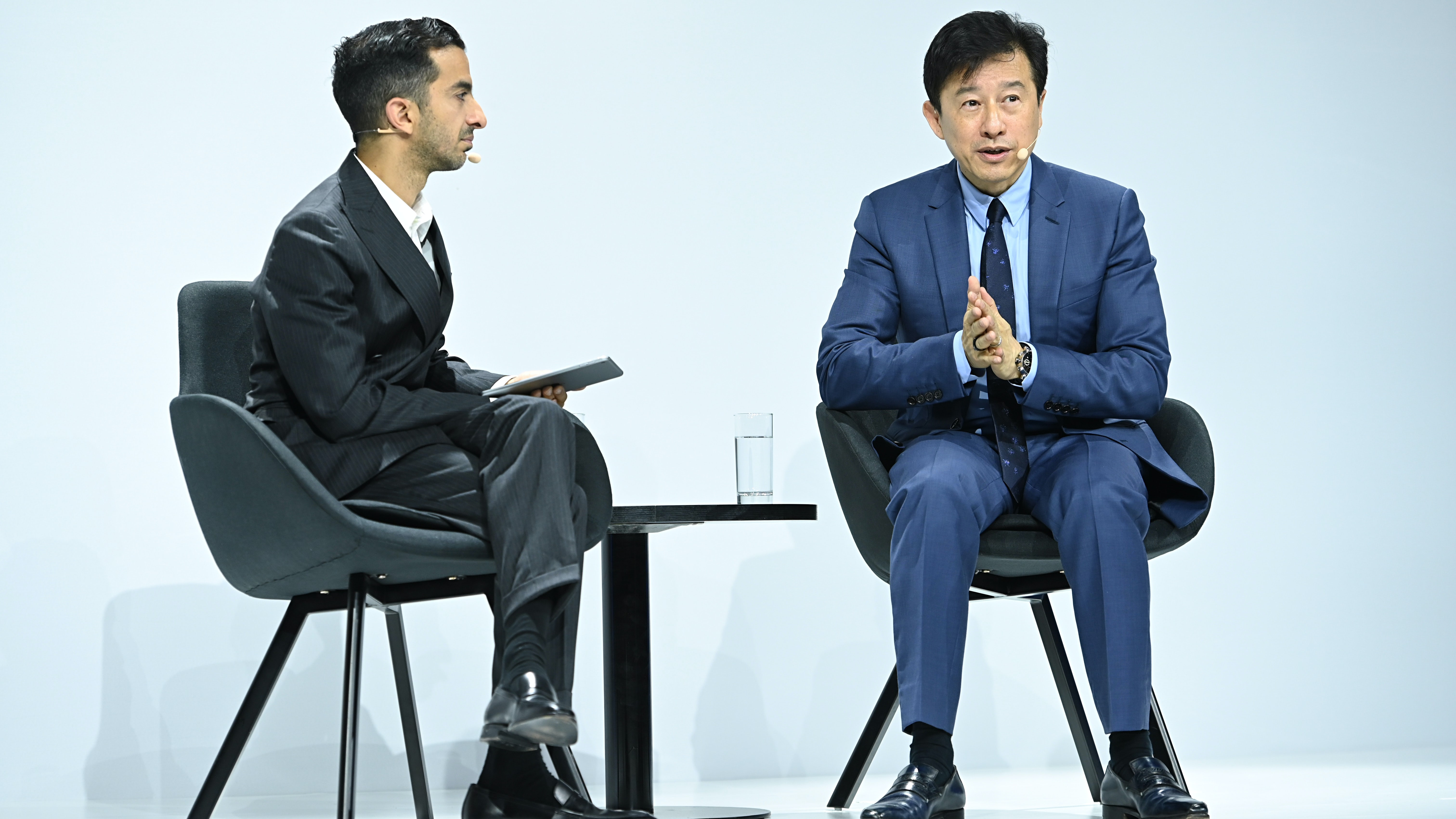 Imran Amed and Andrew Wu on stage at BoF's China Summit in Shanghai | Source: Getty Images for The Business of Fashion