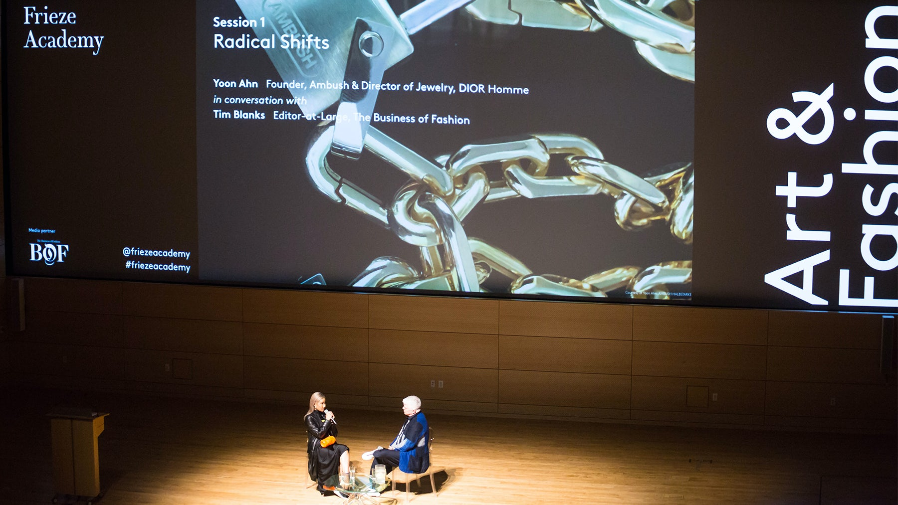 Tim Blanks and Yoon Ahn talk at Frieze Academy | Source: Courtesy