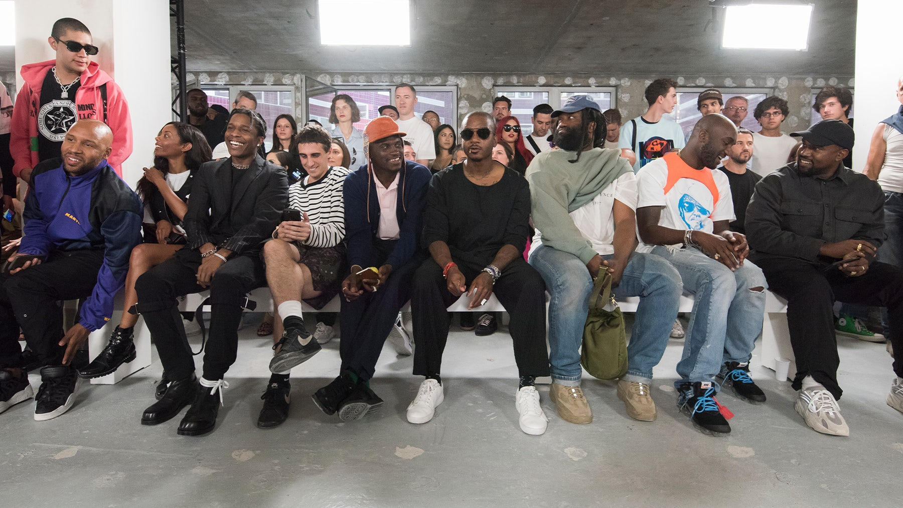 From left: Matthew Henson, Fanny Bourdette-Donon, A$AP Rocky, Elia Fornari, A$AP Nast, Samuel Ross, Tremaine Emory, Virgil Abloh and Kanye West at Alyx Paris Men's Fashion Week 2018 show | Source: Courtesy
