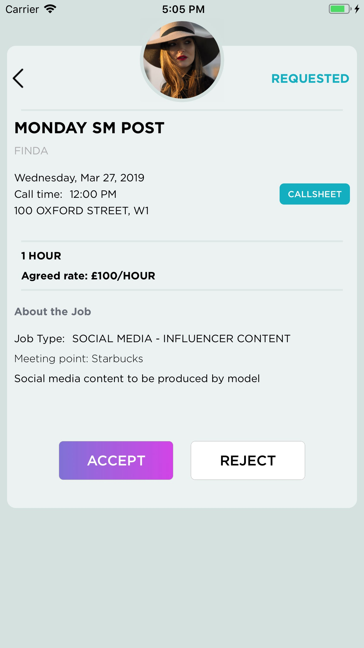 Finda's app, showing an example of a job offer