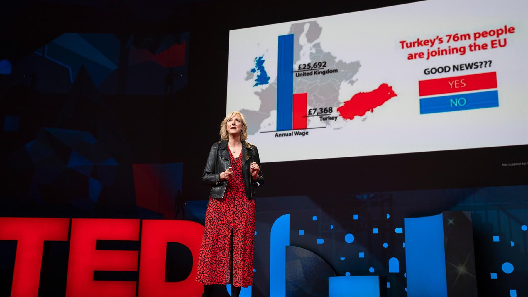 Carole Cadwalladr speaking at TED 2019 | Source: Courtesy of TED