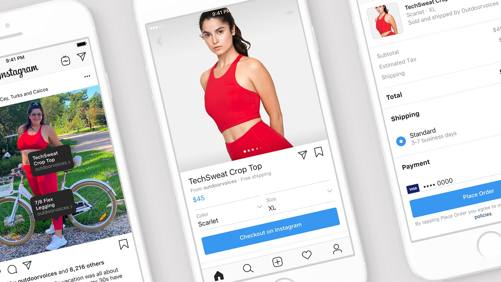 Instagram's Checkout feature allows users to shop directly in the app, through influencer accounts | Source: Courtesy