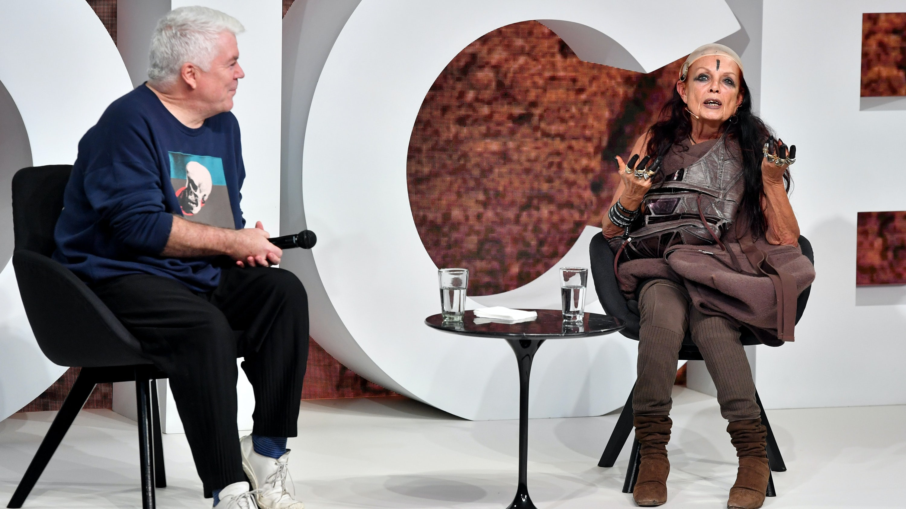 Tim Blanks and Michèle Lamy on stage at BoF's VOICES | Source: Getty Images for The Business of Fashion