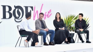 Rohan Silva, Damian Bradfield, Bettina Korek and Richard Pierson speak onstage at BoF West in California | Source: Getty Images for The Business Of Fashion