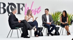 Nick Blunden, Hilary Coles, Tim Brown and Emma Grede speak onstage at BoF West in California | Source: Getty Images for The Business Of Fashion