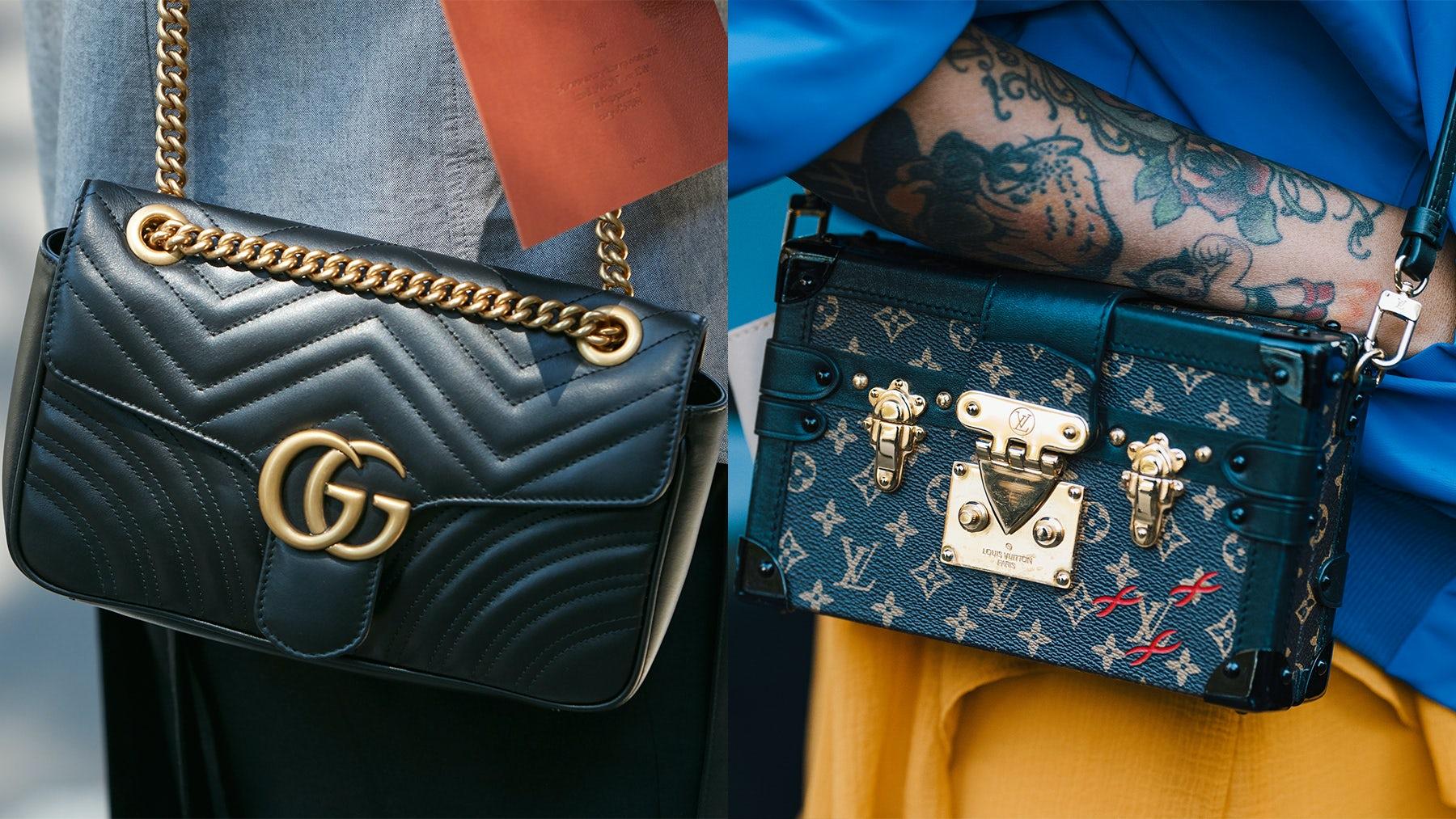 Gucci and Louis Vuitton handbags | Source: Shutterstock