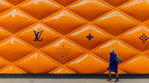 Building site fence panel for a Louis Vuitton shop in Mayfair, London | Source: Shutterstock