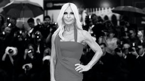 Donatella Versace attends the premiere of the movie 'A Star Is Born' during the 75th Venice Film Festival on August 31, 2018 in Venice, Italy.