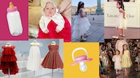 Rosie in baby, kids couture, and a Baby Dior display | Collage by BoF