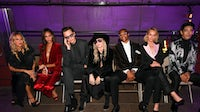 From left: Rachel Zoe, Joan Smalls, Ansel Elgort, Miley Cyrus, Russell Westbrook, Amber Valletta and Naoki at Tom Ford's Spring/Summer 2020 show | Source: Courtesy