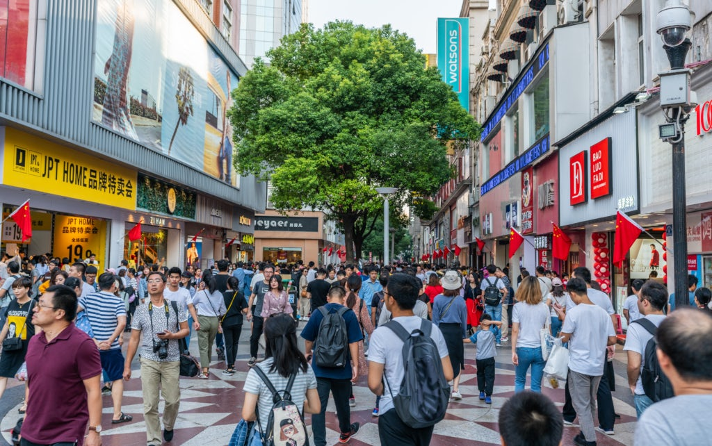A shopping street in Wuhan, China during Golden Week | Source: Shutterstock