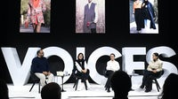 Masoud Golsorkhi, Hoda Katebi, Shirin Vaqar and Shiva Vaqar speak during #BoFVOICES | Source: Getty Images for The Business of Fashion