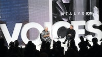 Matthew Williams and Tim Blanks in conversation during #BoFVOICES | Source: Getty Images for The Business of Fashion