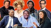 Clockwise, from left: Johann Rupert, Folorunsho Alakija, Precious Moloi-Motsepe, Mohammed Dewji, Isabel dos Santos, Mike Adenuga, Patrice Motsepe | Collage by BoF
