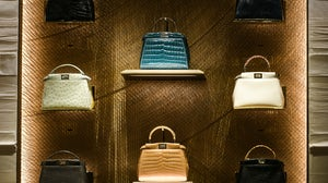 Fendi leather purses on display at a store in Paris | Source: Shutterstock