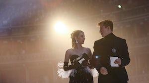 Emma Roberts presents Bottega Veneta's Daniel Lee with an award | Source: Tristan Fewings/BFC/Getty Images