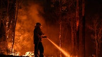 Firefighters work through the night to fight wildfires in Australia | Source: Kate Geraghty/The SMH/Fairfax Media via Getty Images