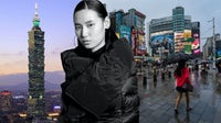 A model in Douchanglee, Taipei's 101 building, and a shopper in the city's Ximending district | Collage by BoF