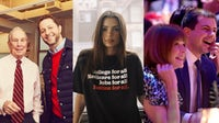 (L-R) Derek Blasberg with Michael Bloomberg; Emily Ratajkowski endorsing Bernie Sanders; Anna Wintour with Mayor Pete Buttigieg | Sources: Instagram @derekblasberg; Instagram @emrata; Getty Images