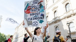 Extinction Rebellion activists at London Fashion Week | Source: Getty Images