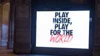 London's flagship Nike store on Oxford Street showing the new Nike 'Play Inside, Play for the World' campaign | Source: Getty Images