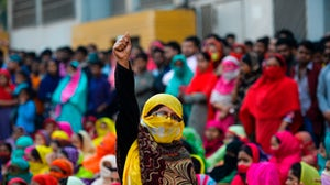 A Bangladeshi garment worker during a demonstration in Dhaka on January 9, 2019 | Source: Getty