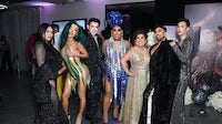 (L-R) Hrush Achemyan, Nikita Dragun, Manny Gutierrez, Patrick Starrr, Mama Starrr, Angel Merino and James Charles attend Patrick Starrr birthday party on November 11, 2019 in Los Angeles, California | Source: Getty Images