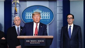 President Donald Trump, Vice President Mike Pence and Secretary of the Treasury Steven Mnuchin discuss a $2 trillion aide package on March 25, 2020.