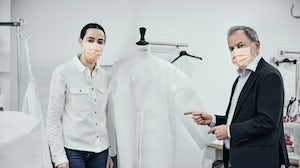 Louis Vuitton Michael Burke at the atelier, where hospital gowns are now being made | Source: Courtesy