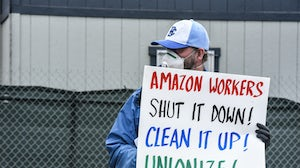 People protested outside an Amazon warehouse fulfilment centre on May 1 in Staten Island | Source:  Stephanie Keith/Getty Images