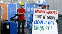 An Alibaba warehouse worker and an Amazon employee protesting | Source: Getty Images, Collage by BoF