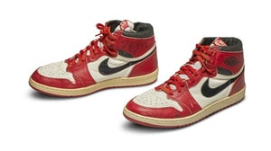 A pair of 1985 Nike Air Jordan 1s, made for and worn by US basketball player Michael Jordan. | Source: Sotheby's